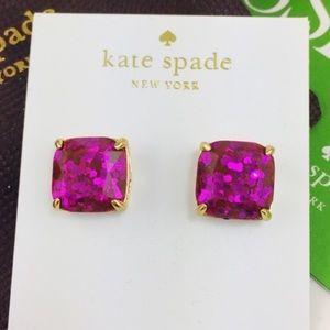 Kate Spade Pink Glitter Square Studs